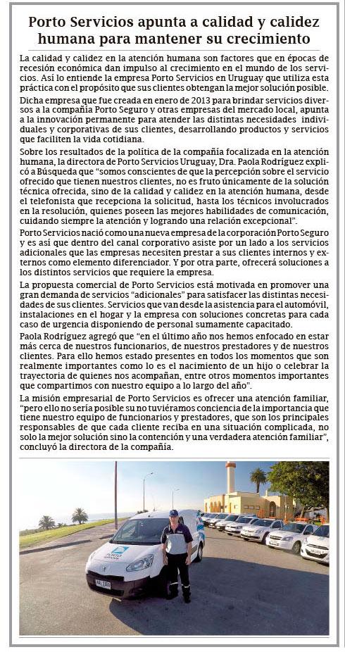 Artículo Porto Servicios en Diario Búsqueda